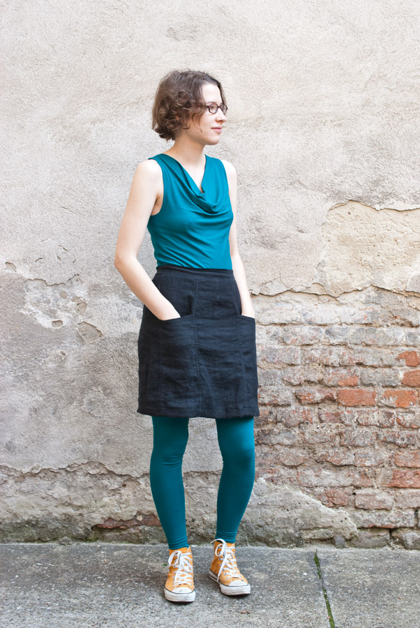 Self-drafted Teal Leggings and Maria Denmark Day-to-Night Drape Top: Side