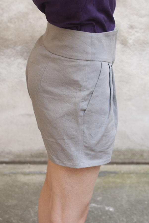 Grey Papercut Pleated Shorts: Side