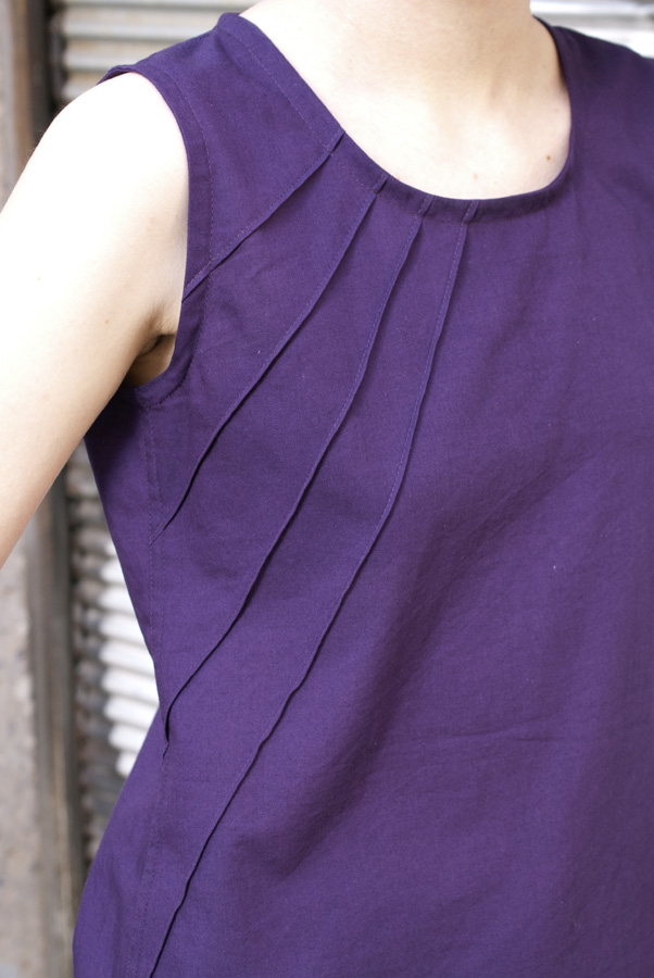 Purple Tank Top: Pintucks