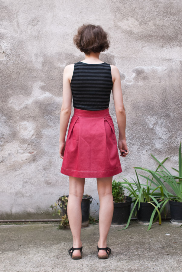 Red Denim Megan Nielsen Kelly Skirt: Back