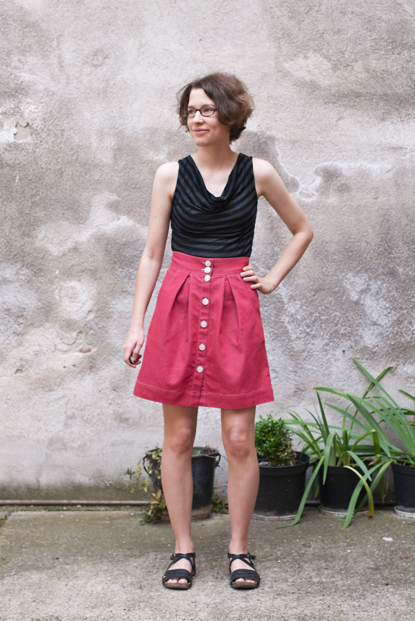 Red Denim Megan Nielsen Kelly Skirt: Front