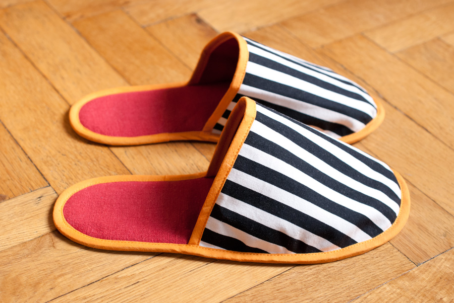 Stripey House Slippers: Side