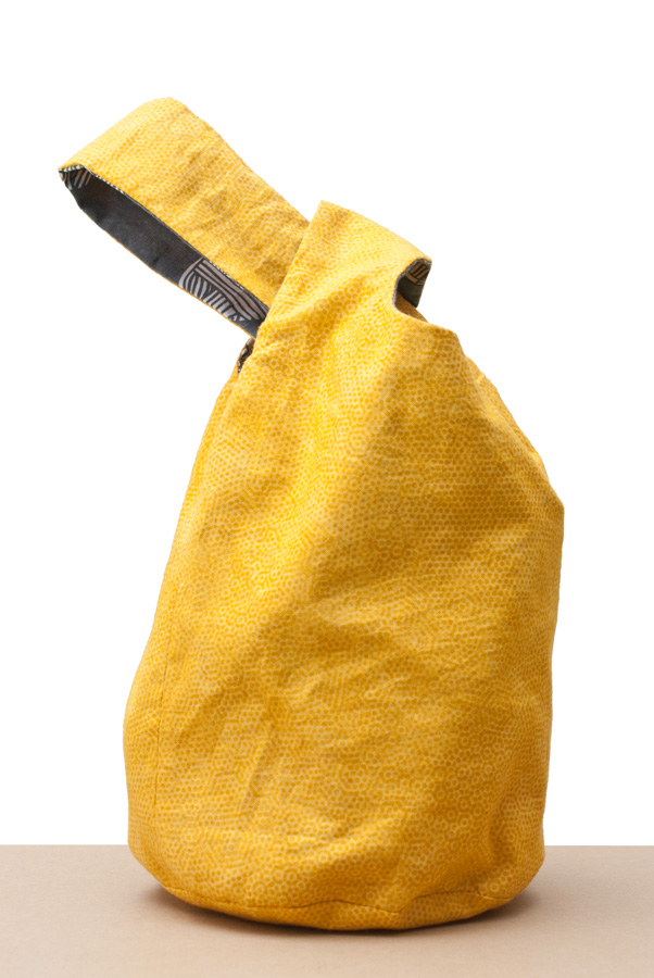 Japanese Knot Bag for the Secret Valentine Exchange: Yellow Side, Knotted